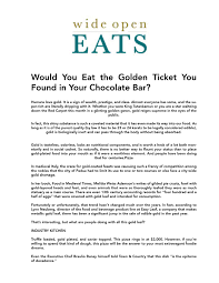 How To Make A Pass Through Kitchen Bar by Would You Eat The Golden Ticket You Found In Your Chocolate Bar