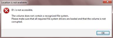 drive not accessible solved the volume doesn t contain a recognized file system on