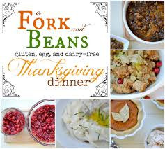full thanksgiving dinner dairy free mashed potatoes fork and beans