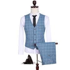 Light Blue Vest 2017 Custom Slim Fit Side Slit Light Blue Plaid Dress Notch Lapel