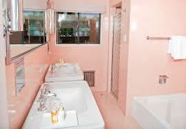pink tile bathroom in frank sinatra u0027s twin palms estate modern