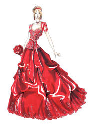 red gown illustration by ourdancingdays on deviantart