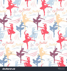ballerina wrapping paper seamless vector pattern silhouettes ballerinas stock vector