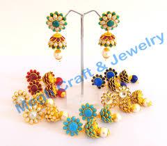 pachi work earrings traditional pachi jhumka earrings erpch2 megh craft