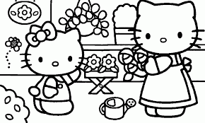hello kitty summer coloring pages eson me