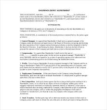 11 shareholder agreement templates u2013 free sample example format