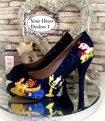 beauty and the beast custom disney inspired womens shoes wedding