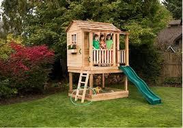 Backyard Cedar Playhouse by Little Cedar Playhouse U0026 Sandbox 6 X 6 U2013 Yard Outlet