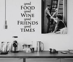 Living Room Decor Etsy Wall Sticker Good Food Wine Friends Times Decal Quote