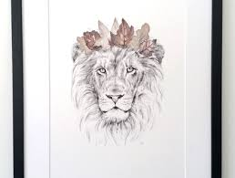king of the jungle lion print a3 contemporary art print of
