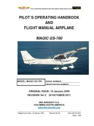 1 magic gs 700 lsa 2 seats pilot s operating handbook and flight
