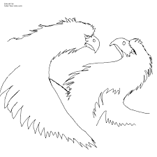 squabbling eagles bird coloring page