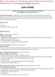Resume Samples For Hospitality Industry by Bartender Resume Example Examples Of Bartending Resumes