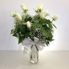 White Roses In A Vase Relles Florist Flowers
