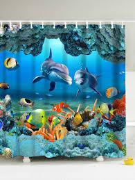 Snowman Shower Curtain Target by 3d Print Underwater World Fish Shower Curtain Blue Cm In Shower
