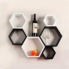 Wall Shelves Amazon by Decornation 6 Piece Mount Hexagon Shape Mdf Wall Shelf Black And