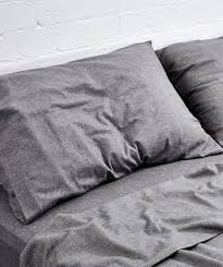 grey chambray flannel sheet set