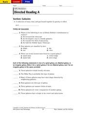 Holt Biology Worksheet Answers Holt Galaxies Directed Reading A Answers Back Lesson Print