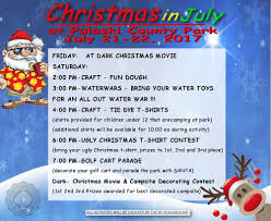 schedule of events for christmas in july u2013 pulaski county park