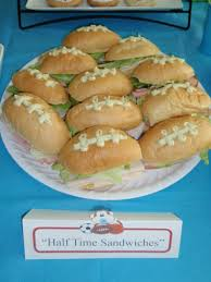 football sandwiches with pesto mayo for allstar baby shower made