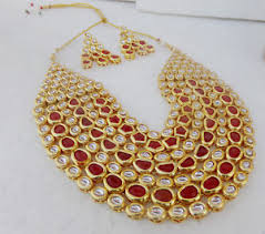 bridal indian necklace set images South indian jewelry set gold plated bridal kundan ruby necklace jpg
