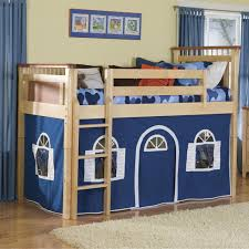 bolton bennington low loft bed with blue curtain
