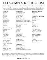 eat clean shopping list basic meal planning pinterest