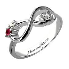 couples rings online images Customized heart in heart sterling silver infinity birthstone ring jpg