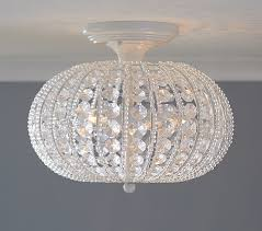 room chandelier lighting clear acrylic round flushmount chandelier pottery barn kids