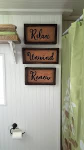 76 best salon decor images on pinterest bathroom ideas rustic relax unwind renew bathroom sign set shelf sitter or wall sign rustic