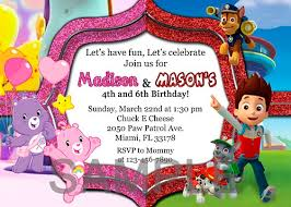 care bears and paw patrol twins double birthday invitations