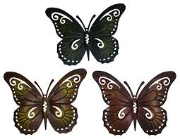 colored metal butterfly wall decor set of three butterflies wall