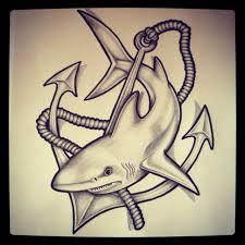 drawn tattoo shark pencil and in color drawn tattoo shark