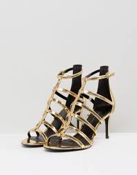 new look caged sandal in metallic lyst