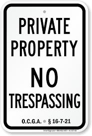 georgia no trespassing signs