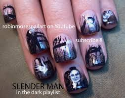 nail art tutorial diy scary halloween nails slenderman nail