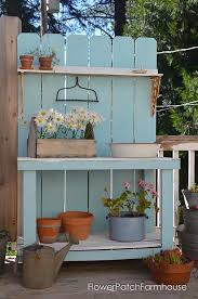 Plant Bench Plans - diy potting bench refresh for summer flower patch farmhouse