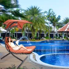 Outdoor Hanging Lounge Chair Orange Hanging Chaise Lounge Chair Umbrella Patio Furniture Pool