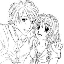 anime couple coloring pages qlyview com