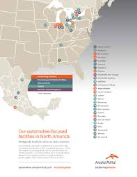 north american map of industrial presence automotive