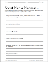 social media madness worksheet 1 student handouts