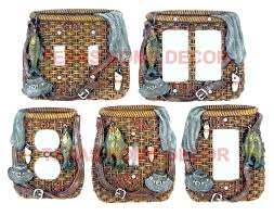 Cabin Decor Fishing Light Switch Plate Outlet Covers Lodge Cabin Decor Woven