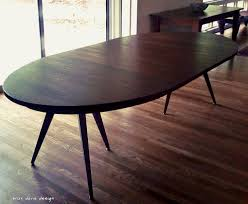 mid century oval dining table custom solid walnut tripod oval expanding dining table by b on