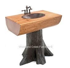 Log Vanity Tree Vanity Stump Log Pedestal Sink Solid Wooden Slabs