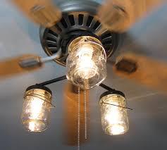 vintage interior lighting decoration with canning jar ceiling fan