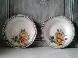 old french set of 2 soup plates sarreguemine et digoin floral