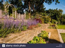 terracing colourful plants stone wall trellis arch under a blue