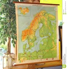 Germany Europe Map by Vintage And Retro Topographic Map Of Northwest Europe Stock Photo