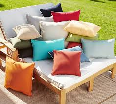 sunbrella contrast piped solid indoor outdoor pillow pottery barn