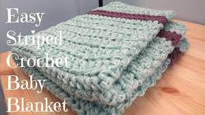 knitting pattern quick baby blanket easy striped crochet baby blanket youtube